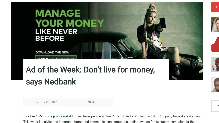 "AD OF THE WEEK - NEDBANK ""I DON'T LIVE FOR MONEY""CHECK IT OUT"