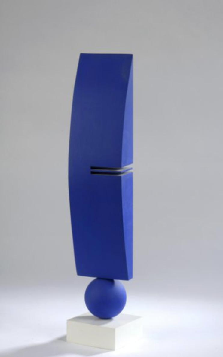 S, rectangle bleu , acrylique sur bois, collection particulière, © Luc Paris