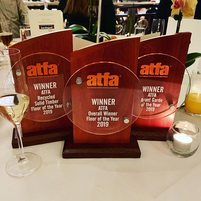 """We're having a bit of a night! Such an honour to win three awards at the Australasian Timber Flooring Association @_a_t_f_a_ Awards including Australasian Floor of the Year and Recycled Solid Timber Floor of the Year for the Lewisham Pod Grand Designs House, and Avant Garde of the Year for """"That @simonancherstudio Couch""""."""