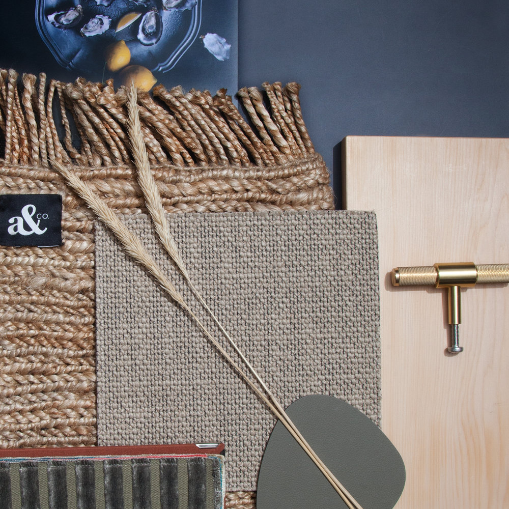 Celery Top Pine teamed with deep blue colours and lots of natural textures creates a modern take on Coastal Style.
