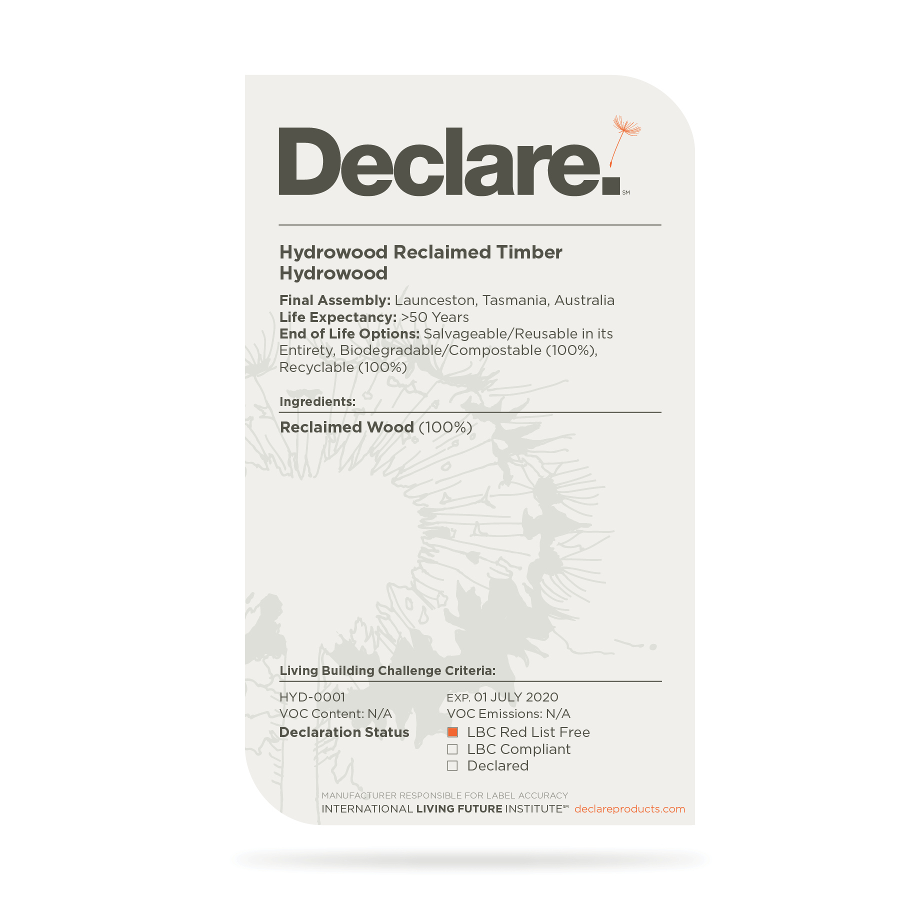 The Hydrowood Declare Label
