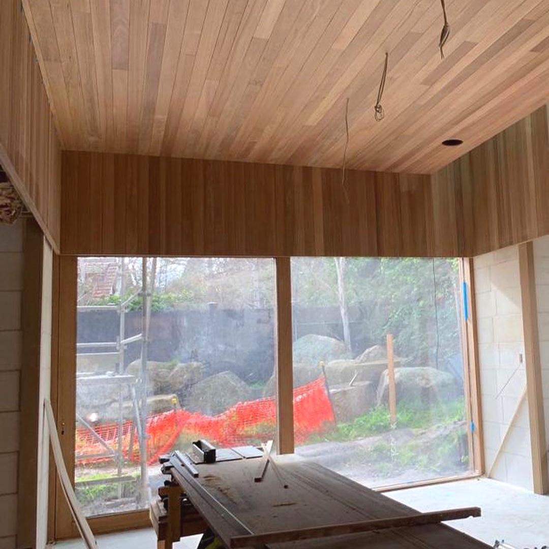 Work in Progress shot of the Limestone House Project, featuring Hydrowood Oak internal lining board. Image: John Wardle Architects