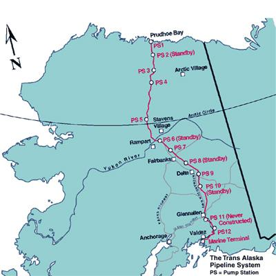 Figure 1: The Trans-Alaska Pipeline System(Source, University of Minnesota Duluth).