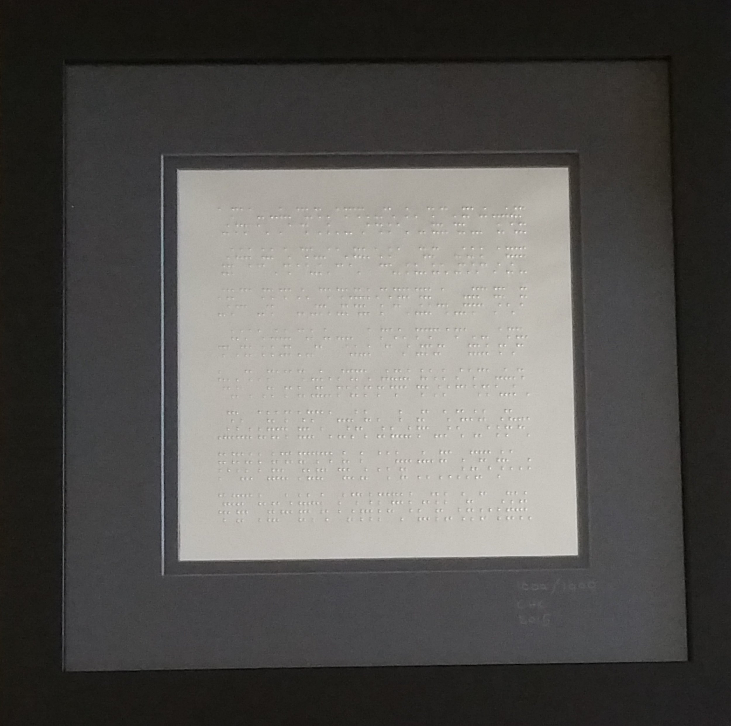 """2015. 8 Framed and Hammered Sheets of Stainless Steel 8 x 12"""" x 12"""" (frame dimensions)."""