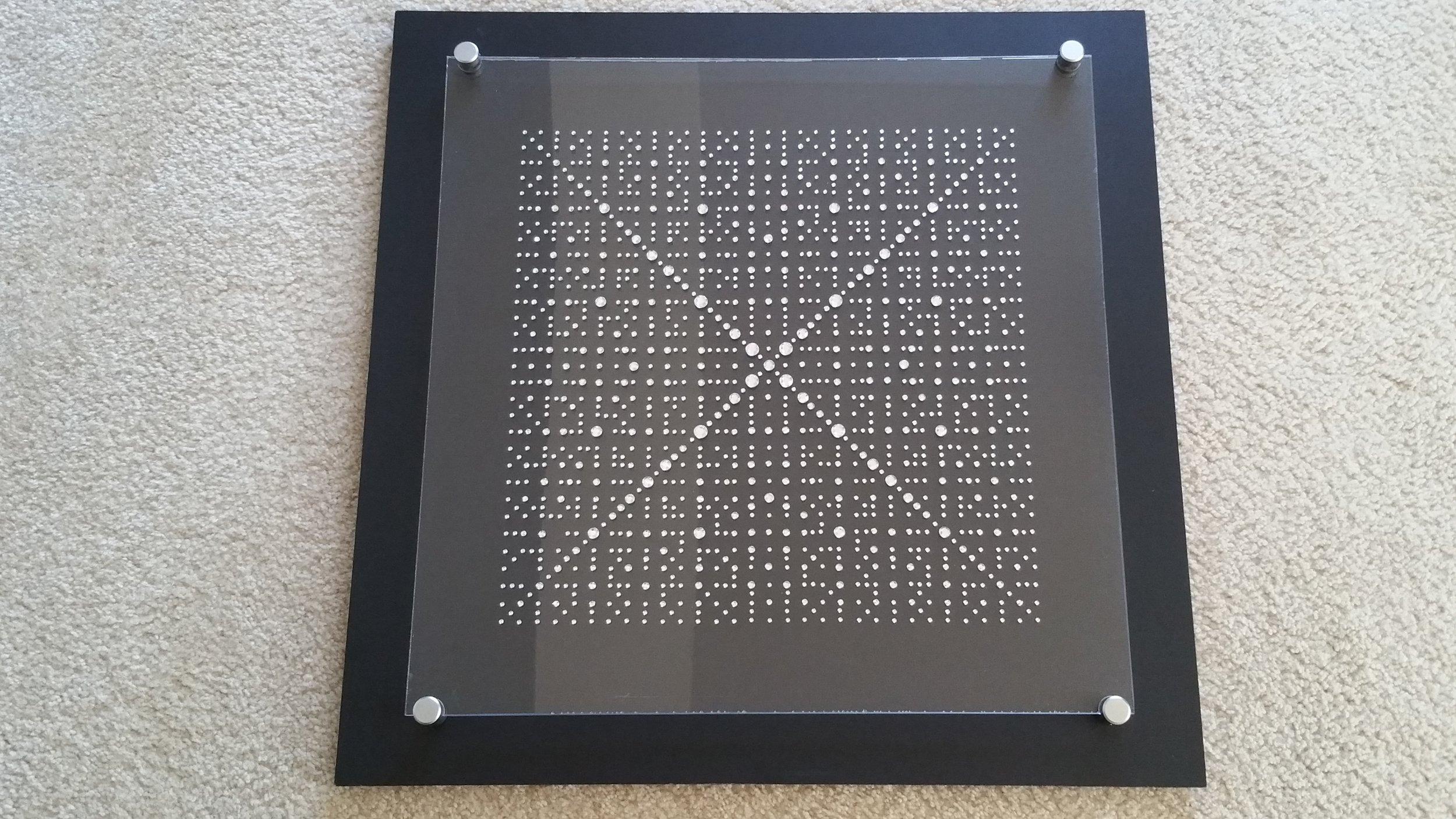 "2015. Crystals on Plexiglass with Masonite backboard 24"" x 24"" (Masonite dimensions)"