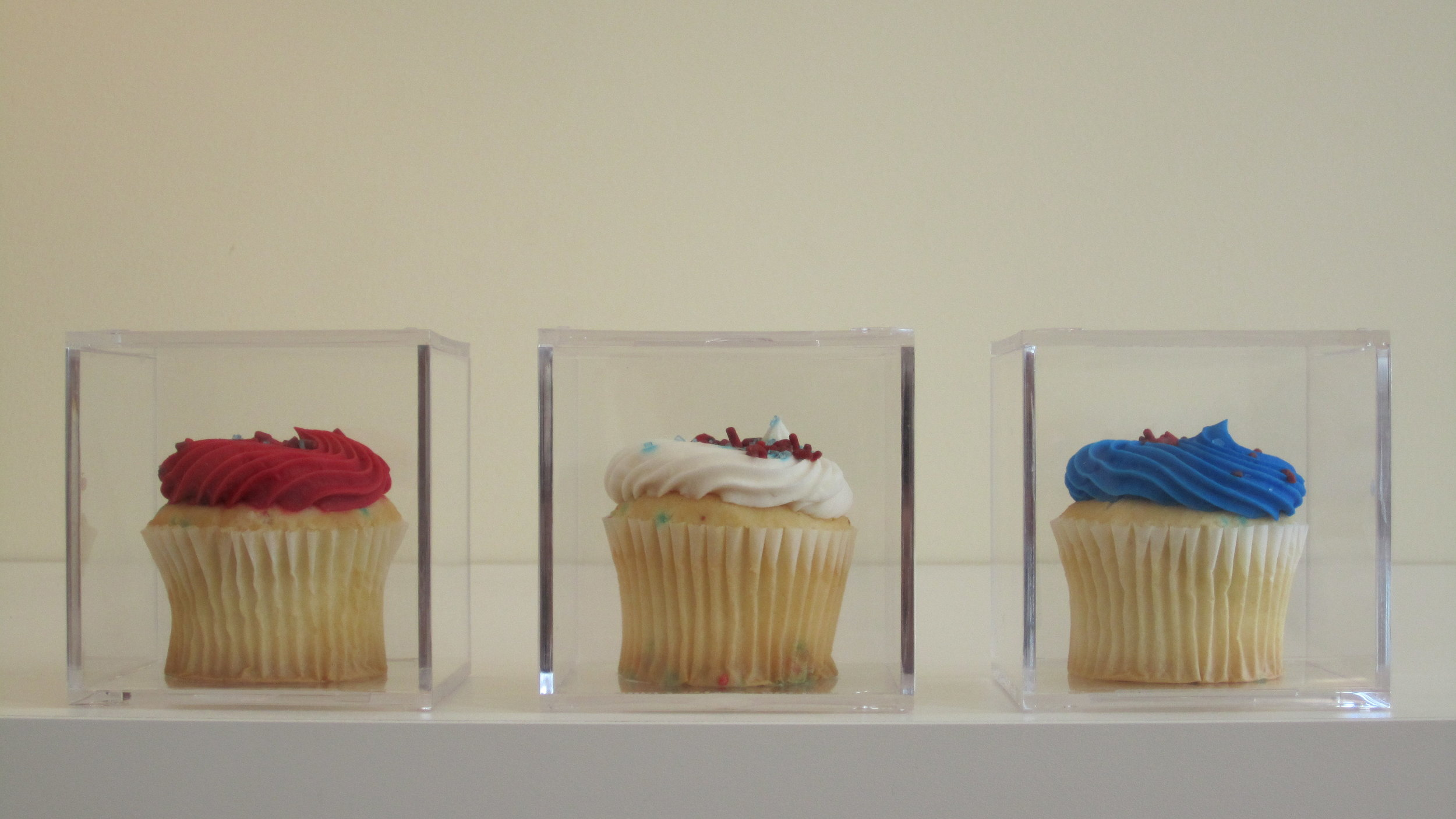 """2010. Store-bought cupcakes in acrylic display cases 3""""x3""""x3"""