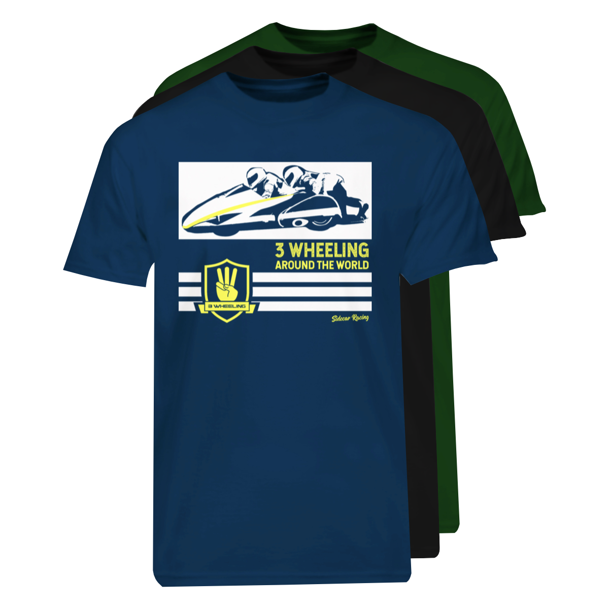 3W T-Shirt Around The World, Navy, Black, Green Stack #4.png
