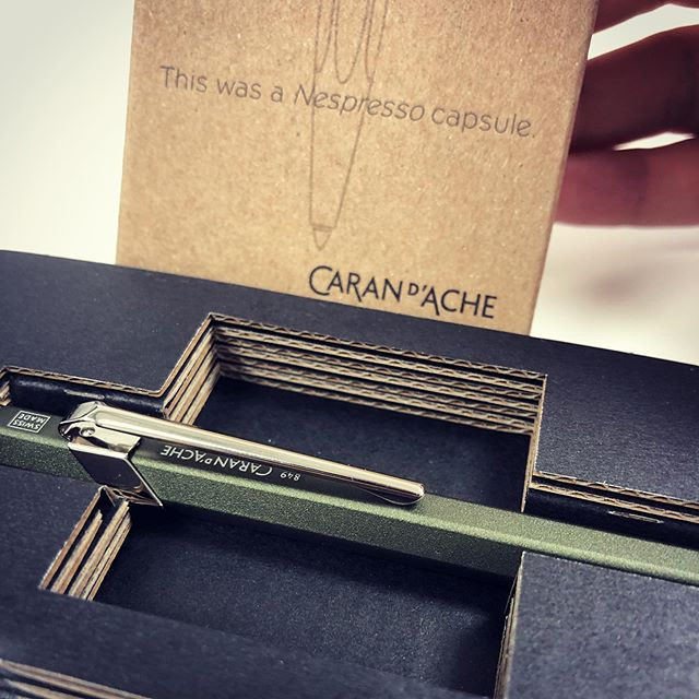 Back in stock! I LOVE the Nespresso ballpen from Caran d'Ache. This is their 849 ballpen model, but in this limited edition, the body is made from recycled Nespresso capsules! Creative solutions like this create sustainability. @carandache @nespresso #writesustainably #carandache #849ballpen #nespresso #nespressocapsules #nespressorecycling #ballpen #pointspens #shopsmall #shopsmallbusiness