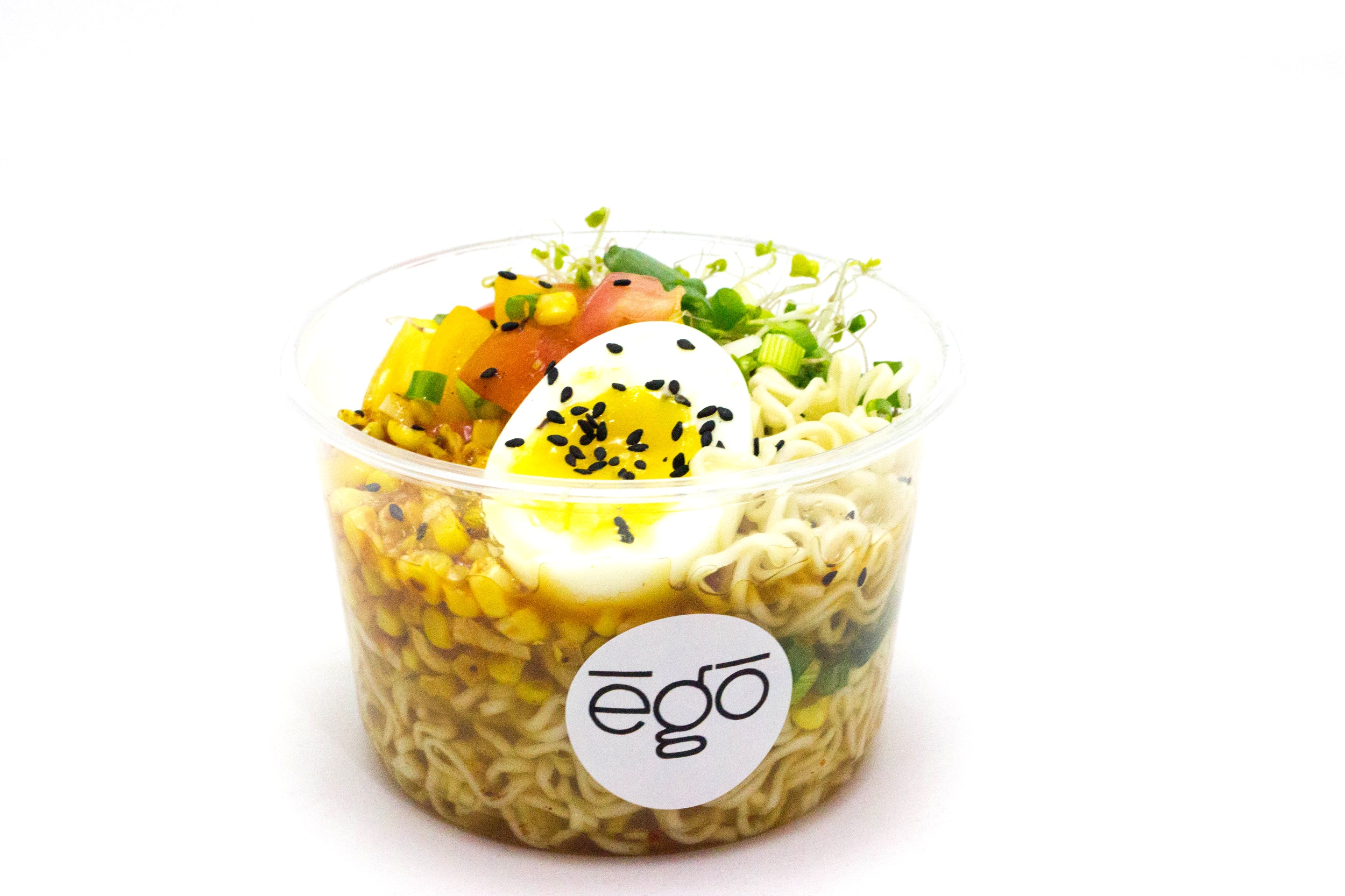 Ego Ramen - Chicken broth, ramen noodles, medium boiled egg, green onion, bell pepper, corn and sprouts, served chilled or heated
