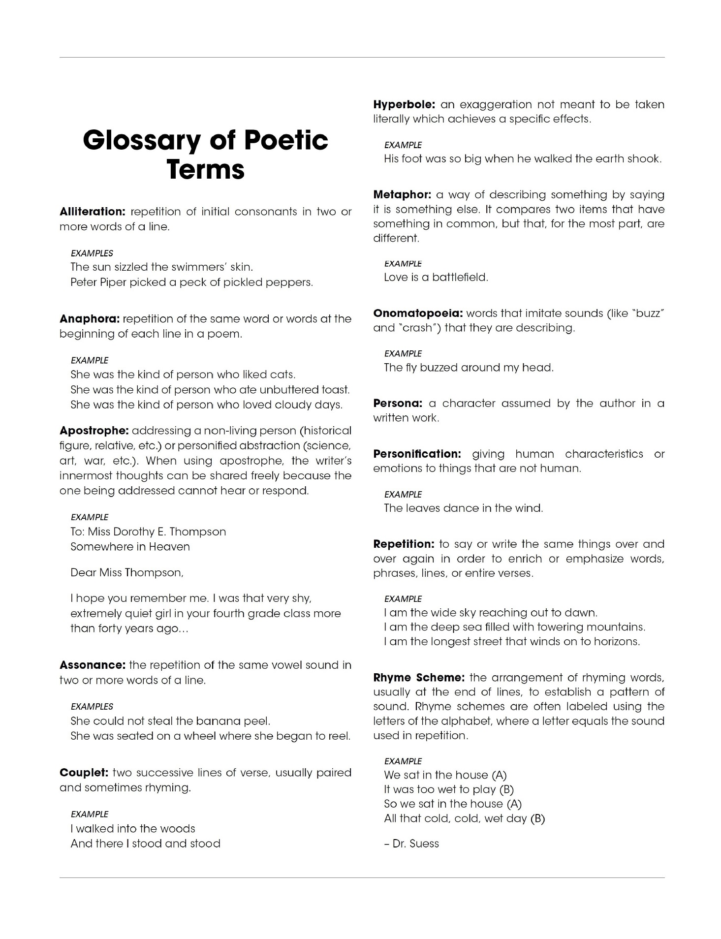 Definitions & Poetry Terms