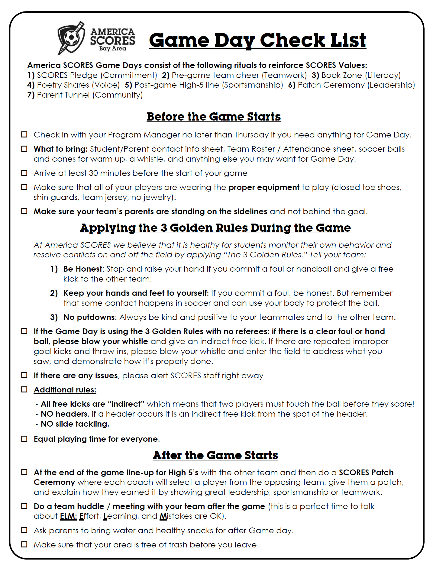 SCORES Coach Game Day Check List
