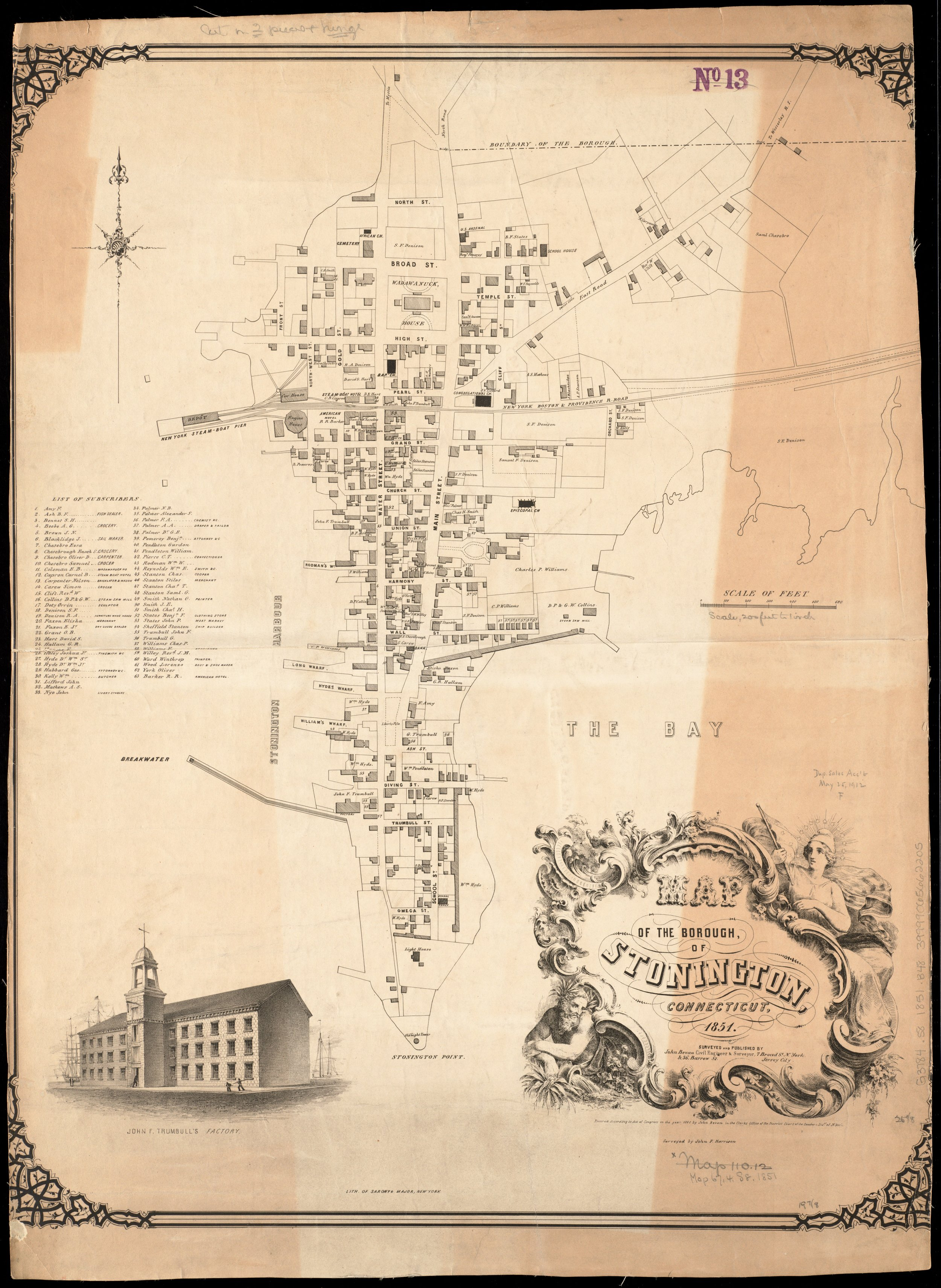 This map from 1851 shows the New York Boston & Providence Railroad line as it ran through the middle of Stonington Borough, out to New York Steam-Boat Pier, now the site of the current Town Dock.