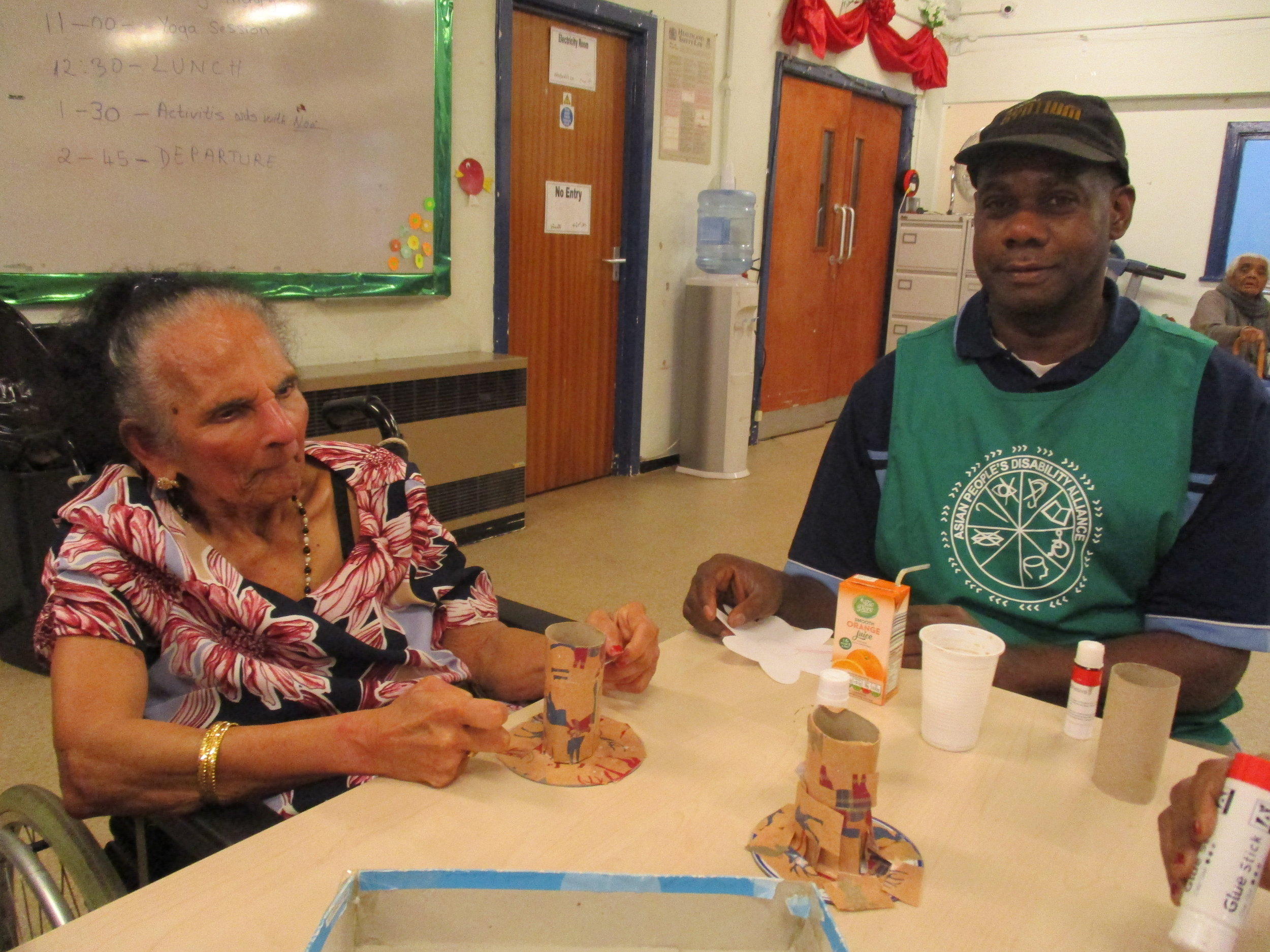 Service Users crafting with recycled materials
