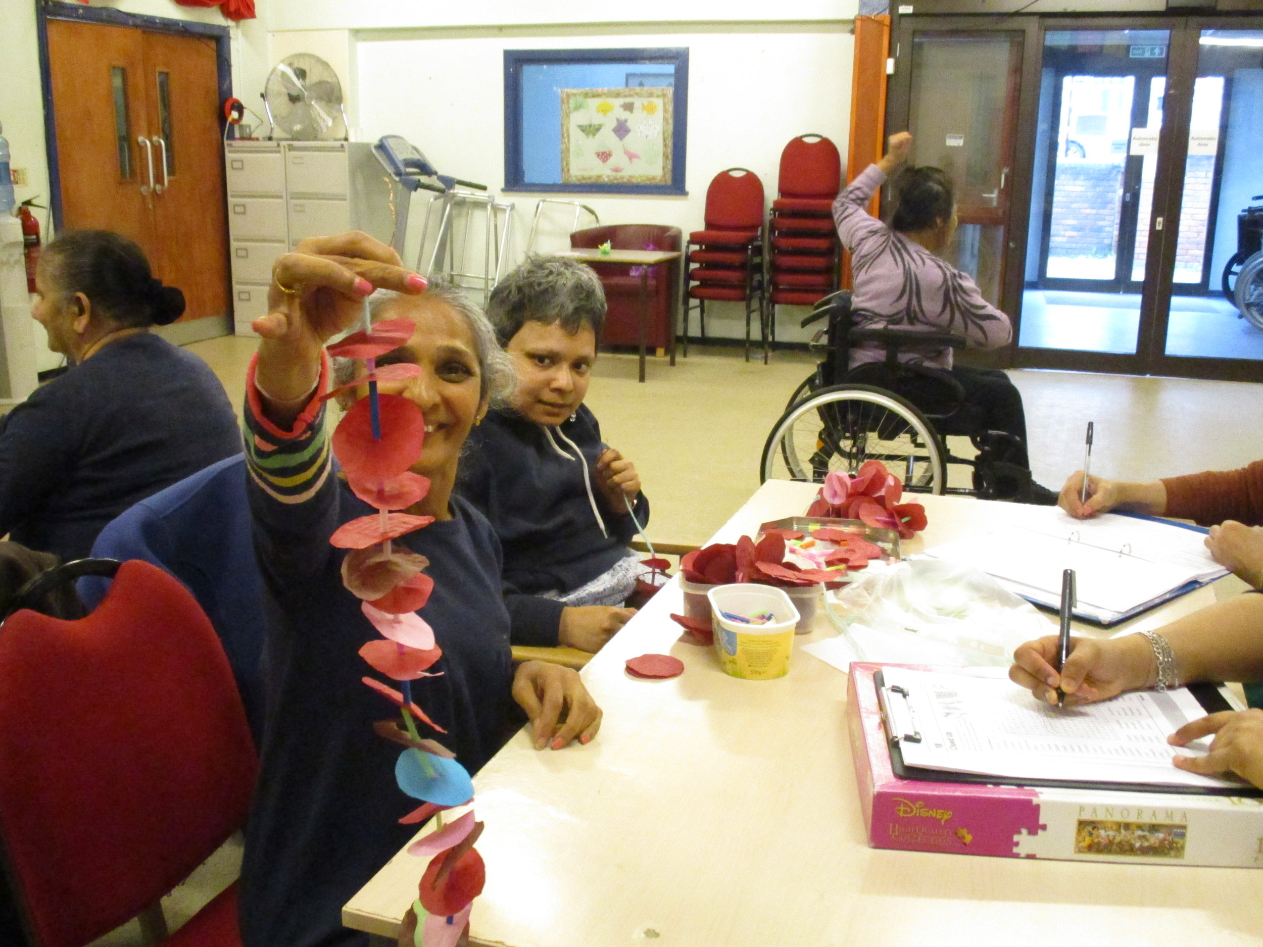Service Users making decorations for the centre