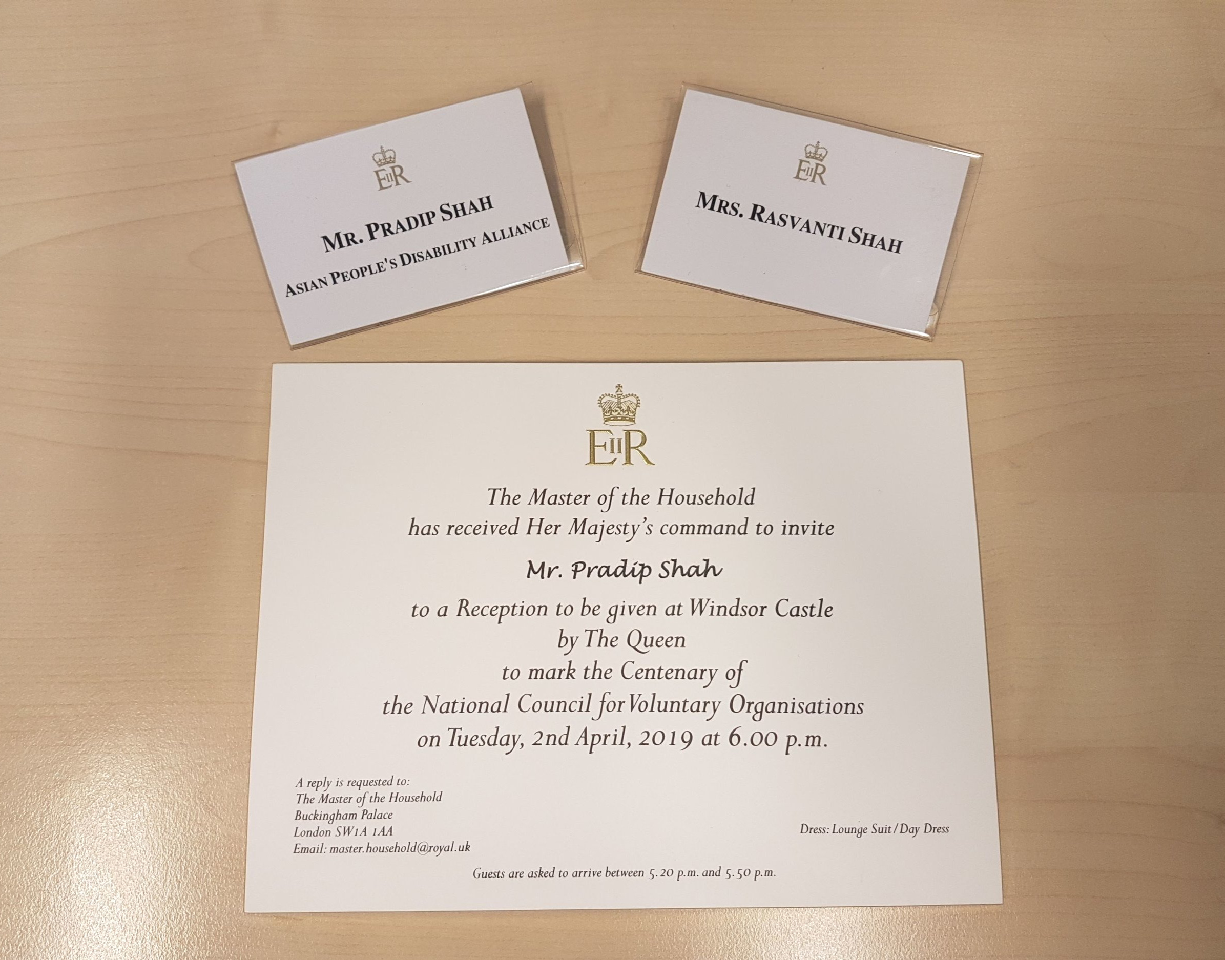 02 April 2019 - Pradip Shah (Chairperon) and Rashmi Shah (Chairperon's wife) attended Her Majesty the Queen Reception to mark the centenary of The National Council for Voluntary Organisations at Windsor Castle (pictures to follow)