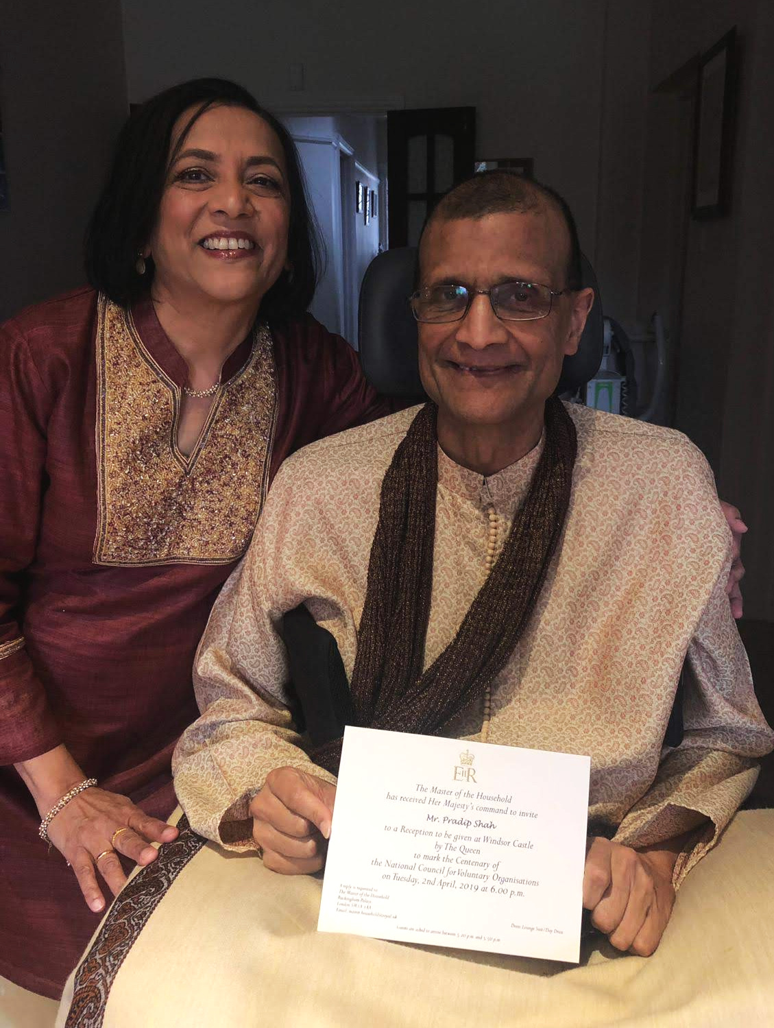 Rashmi and Pradip with the invitation to Windsor