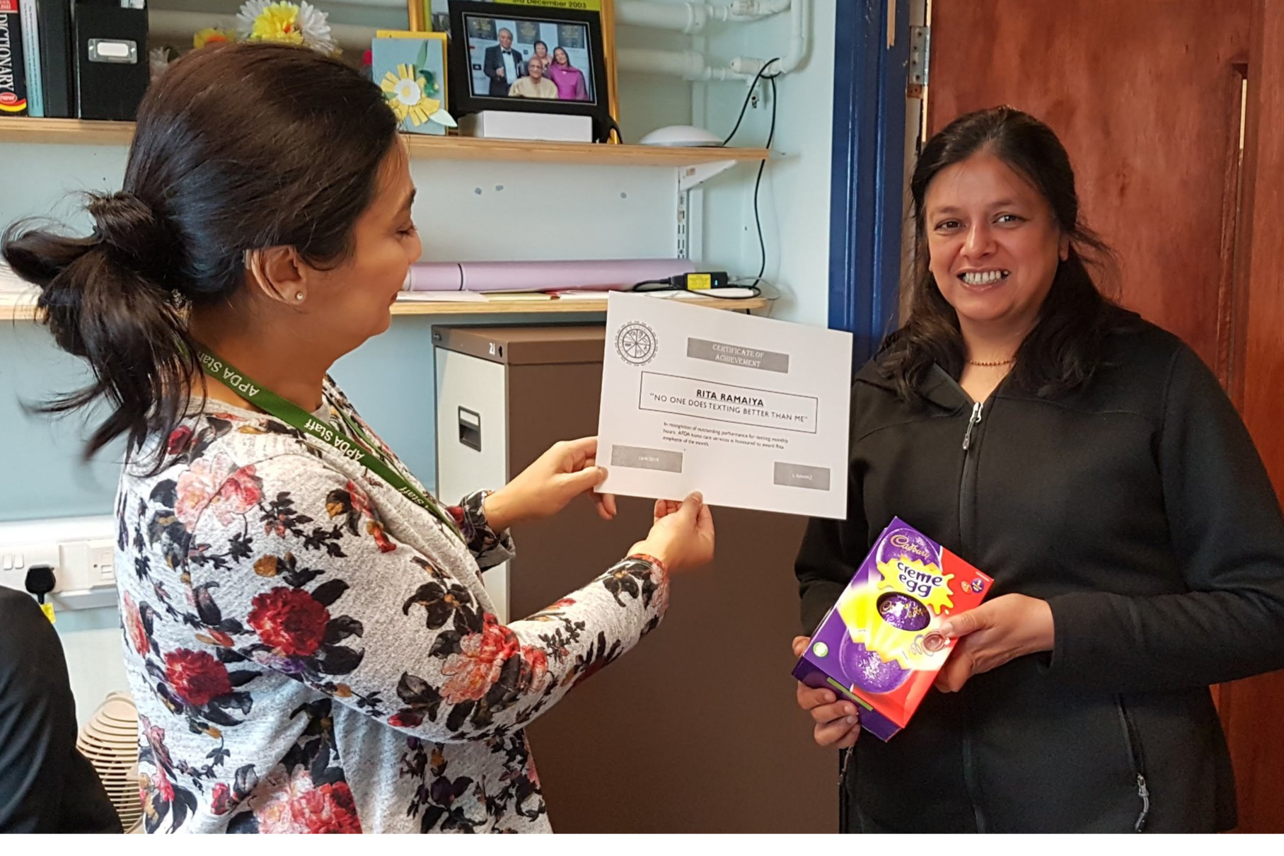 Rita our Carer received a certificate for achievement for communicating presented by Zeenat Jeewa, CEO -