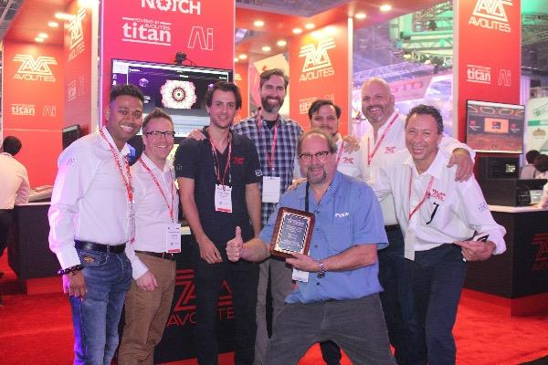 The Avolites team at LDI 2017 being presented with their  PLSN plaque by editor of  PLSN , Nook Schoenfeld. Photo courtesy of Avolites