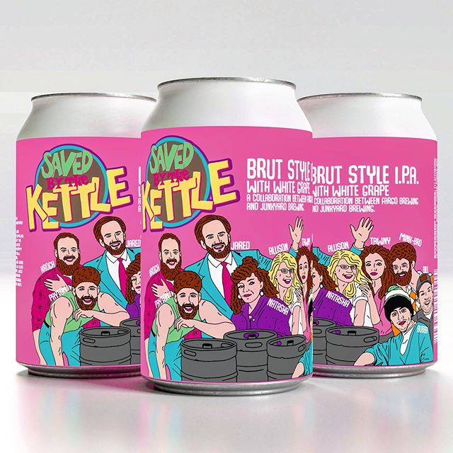"""Join us at The Fargo Brewing Taproom on Friday, May 17th at 12pm for the release of Saved By The Kettle, the 2nd half of our collaboration project with our neighbors across the river at @junkyardbrewing! For this collaboration, we came together to craft two uniquely different IPAs using similar ingredients.  The 2nd release in our collaboration is Saved By The Kettle! This Brut Style IPA is brewed with Nelson Sauvin and Waimea hops and a new hybrid yeast that helped achieve a super dry, effervescent and refreshingly crisp beer that epitomizes what a Brut Style IPA is all about!  Normally Brut Style IPAs are brewed using extra enzymes which break down the more complex sugars in beer so that any normal ale yeast can eat those sugars, resulting in a very dry beer. However, when we got together to work out how we should do our Brut style IPA, we all liked the idea of experimenting with a newly available yeast variety to achieve the maximum dryness we were looking for in this half of the collaboration. This yeast, called """"Gulo"""" Ale yeast, is a hybrid of an Irish Ale yeast and a Saison yeast. The Saison genetics give it the ability to eat up nearly all the fermentable sugars making the beer super dry while the Irish Ale genetics cancel out the typical phenolic flavor profile of the Saison yeast (phenolic = clove, pepper, banana etc...) for a finish with a clean yeast profile, having no major esters or phenolic flavors. On the other side of the river, Junkyard will be releasing a New England Style IPA on Friday, May 10th called, """"Full Brewhouse!"""" This IPA is also brewed with Nelson Sauvin and Waimea hops! True to style, this NEIPA is a juicy, lush and dank contrast to the crisp and clean Brut that still mirrors the sweet, complex, and fruity flavors brought through by the powerhouse of hops used in both beers. To really tie these beers together, we also brewed them each with Sauvignon Blanc grape juice that showcases the Nelson Sauvin Hops and their beautiful similarities """