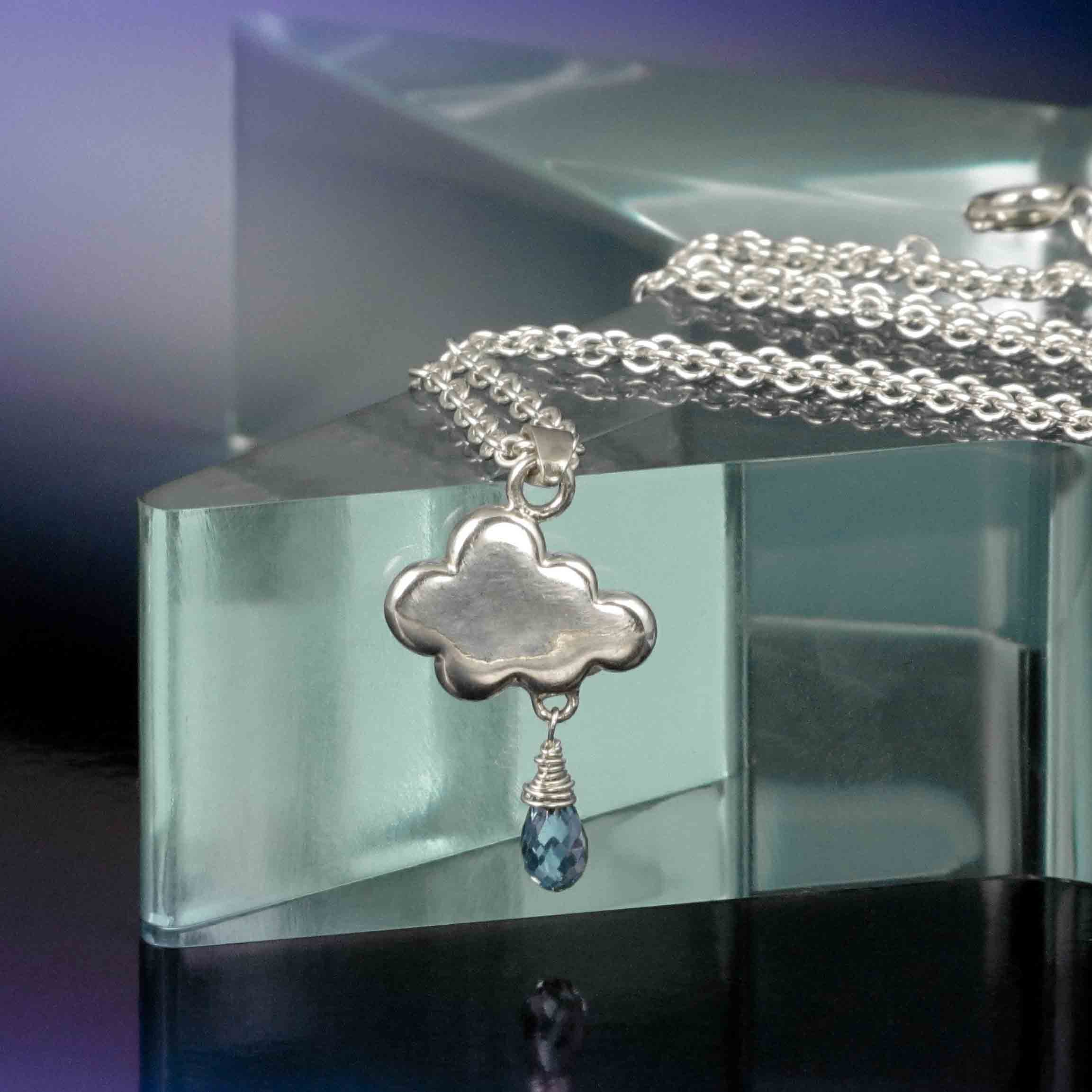 Small silver cloud rain drop pendant