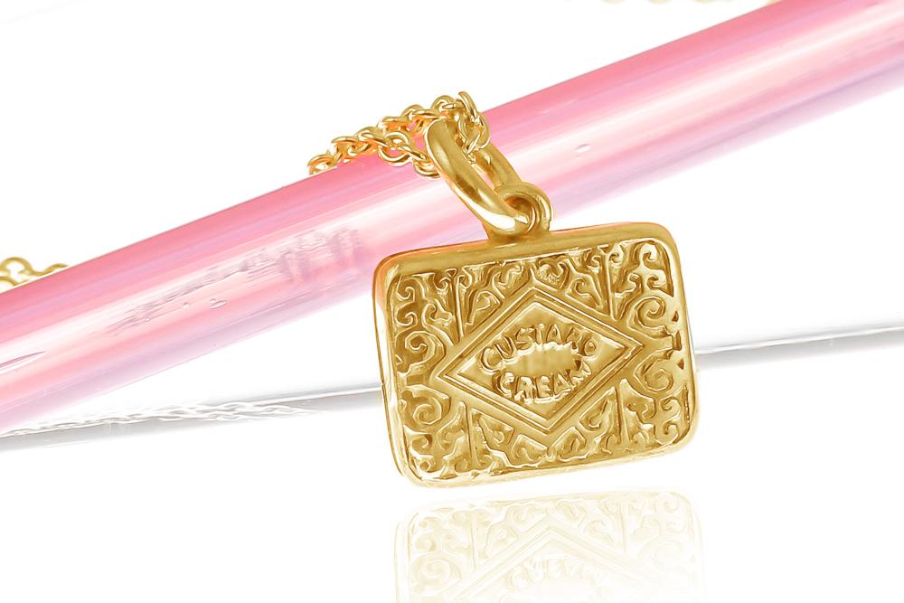 22 k gold vermeil original custard cream charm necklace handmade i