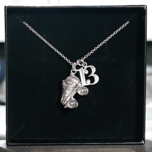 Sterling silver roller derby necklace skate number