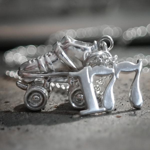 Sterling silver custom roller derby skate number necklace