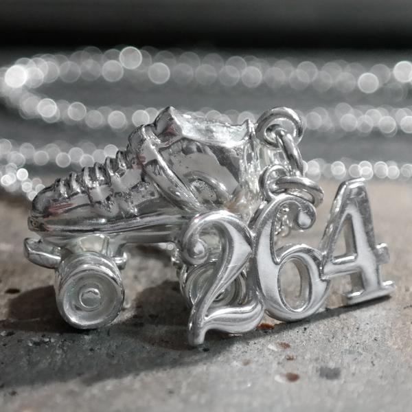 Sterling silver roller derby skate number necklace 2