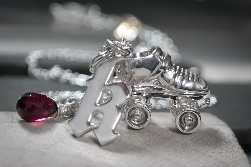 Sterling silver custom roller derby skate initial necklace