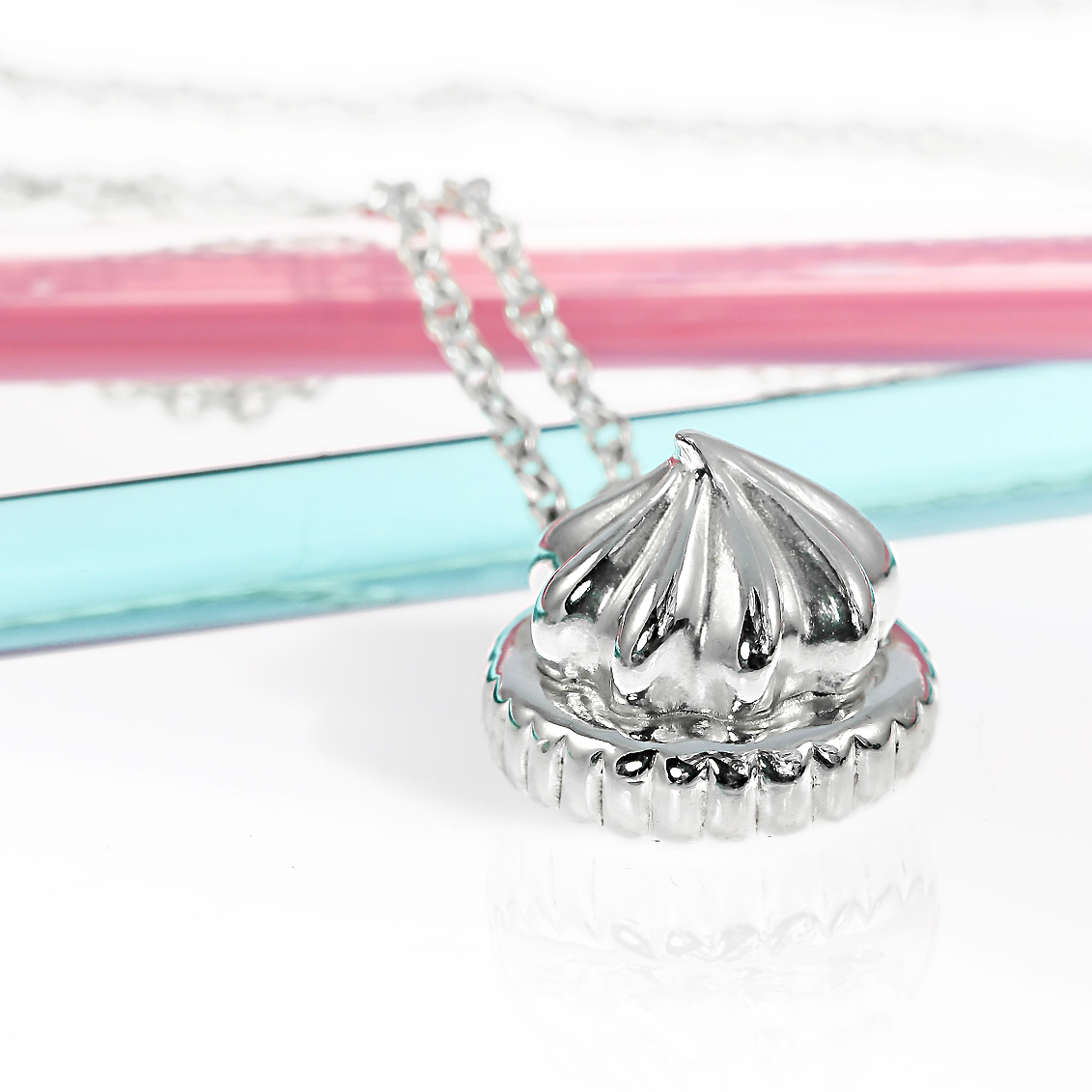 Sterling silver large iced gem necklace handmade