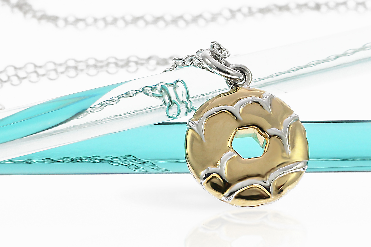 Sterling silver party ring biscuit necklace