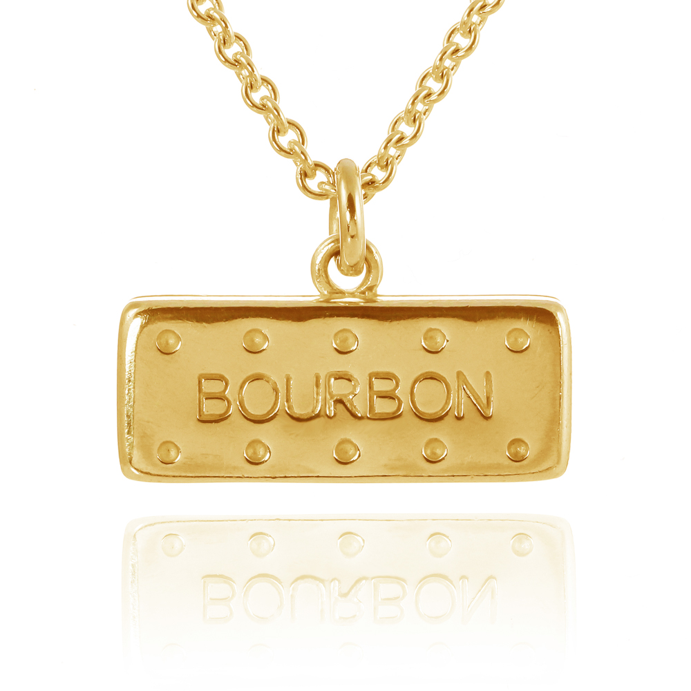 22 k gold vermeil large solid bourbon biscuit handmade necklace