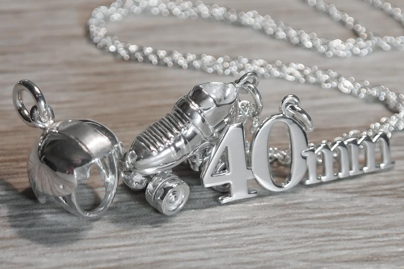 Silver roller derby necklace skate number