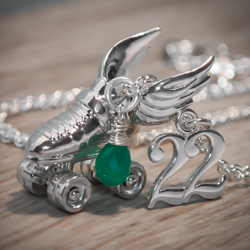 Silver custom roller derby necklace 22