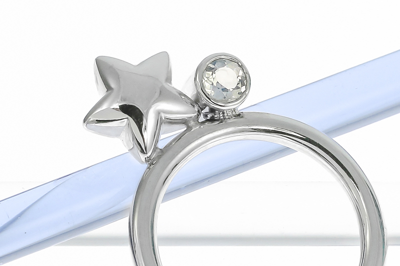 Sterling silver chunky star stacking ring