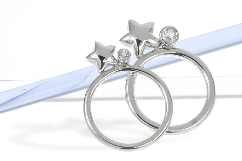 Sterling silver star and moonstone stacking rings