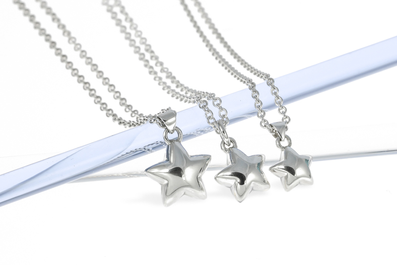 Sterling silver handmade solid silver star necklaces