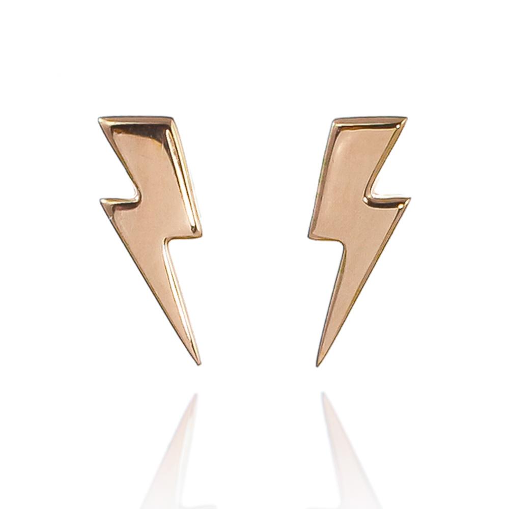 18 carat rose gold vermeil lightning bolt earrings