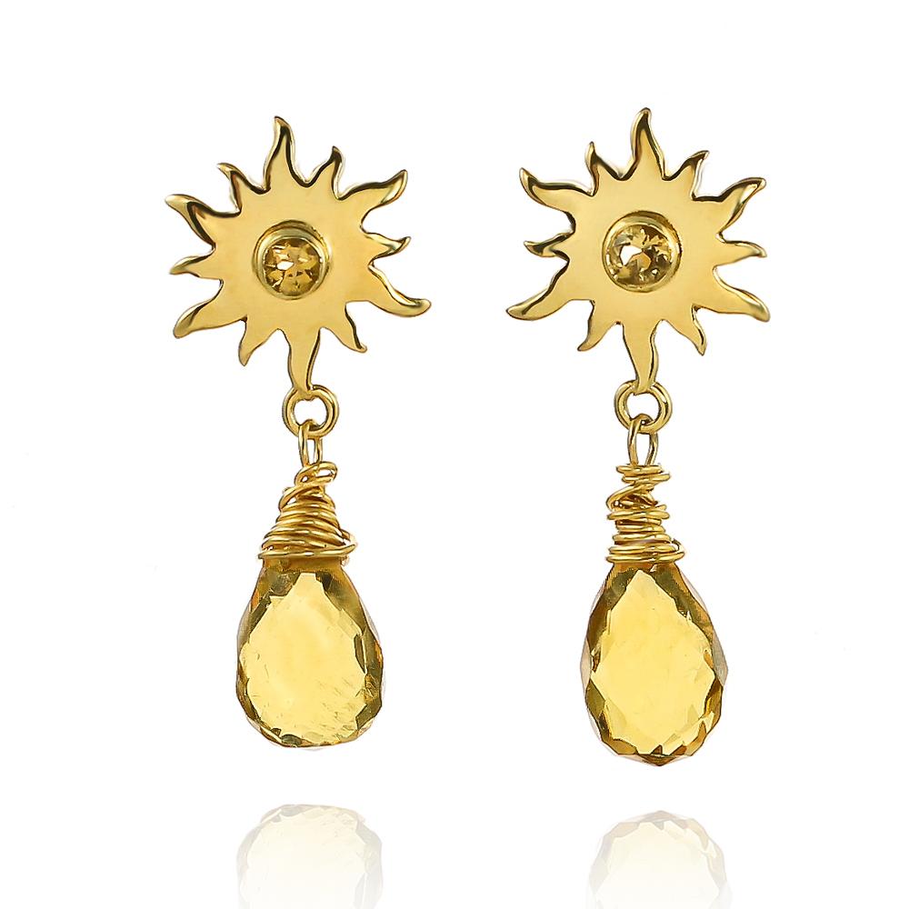 Gold vermeil sunshine drop British weather earrings