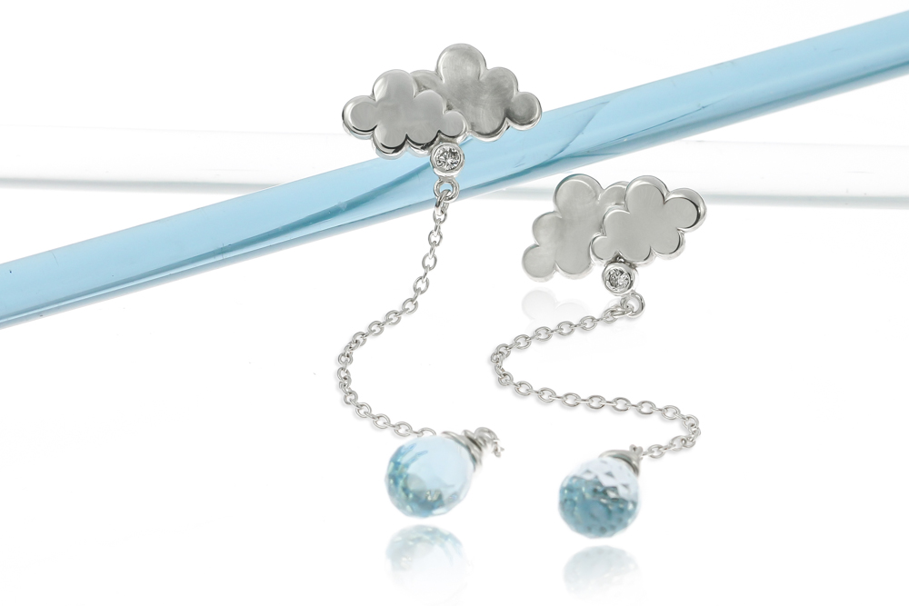 Sterling silver British weather rain cloud earrings blue topaz