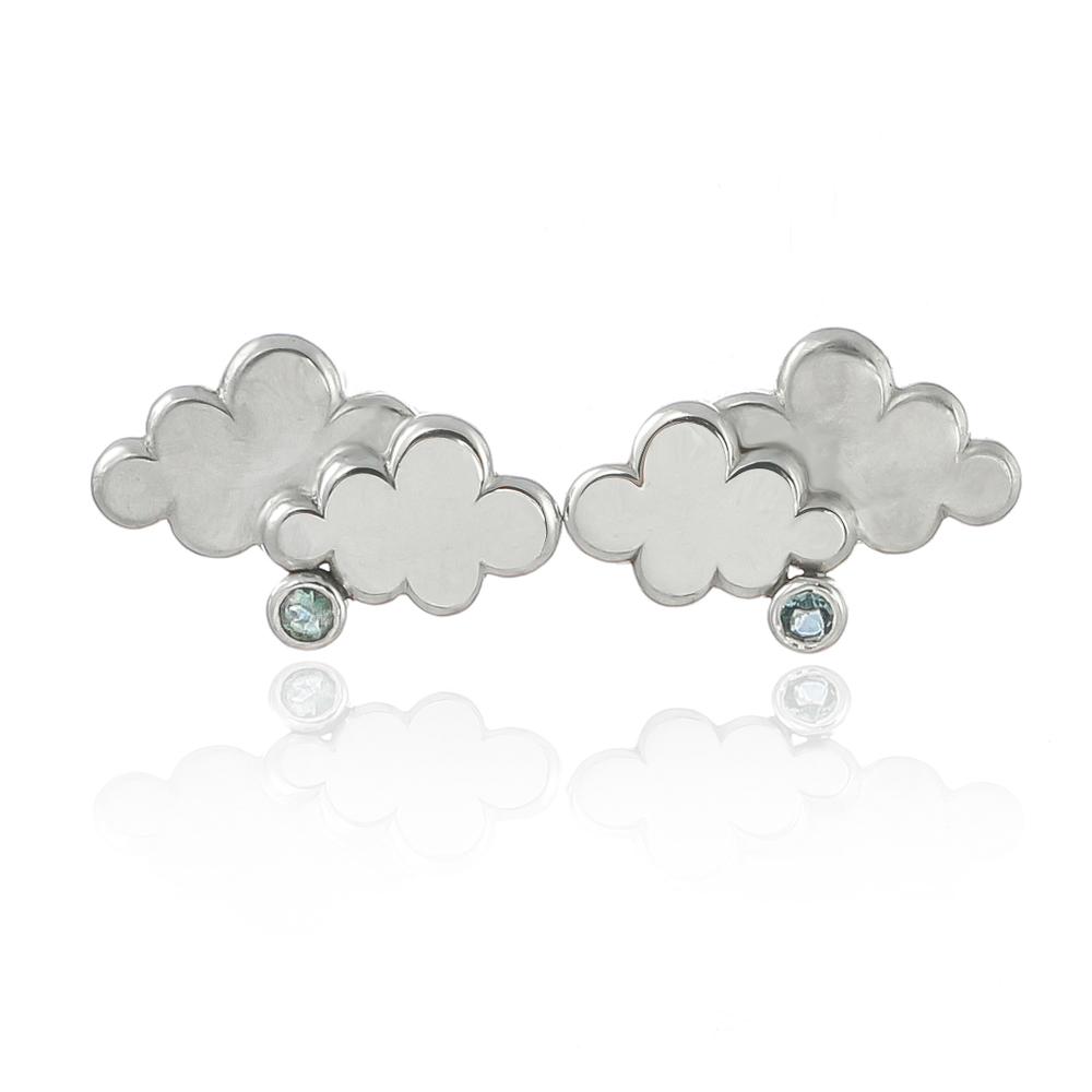 Sterling silver cloud and aquamarine rain earring stud