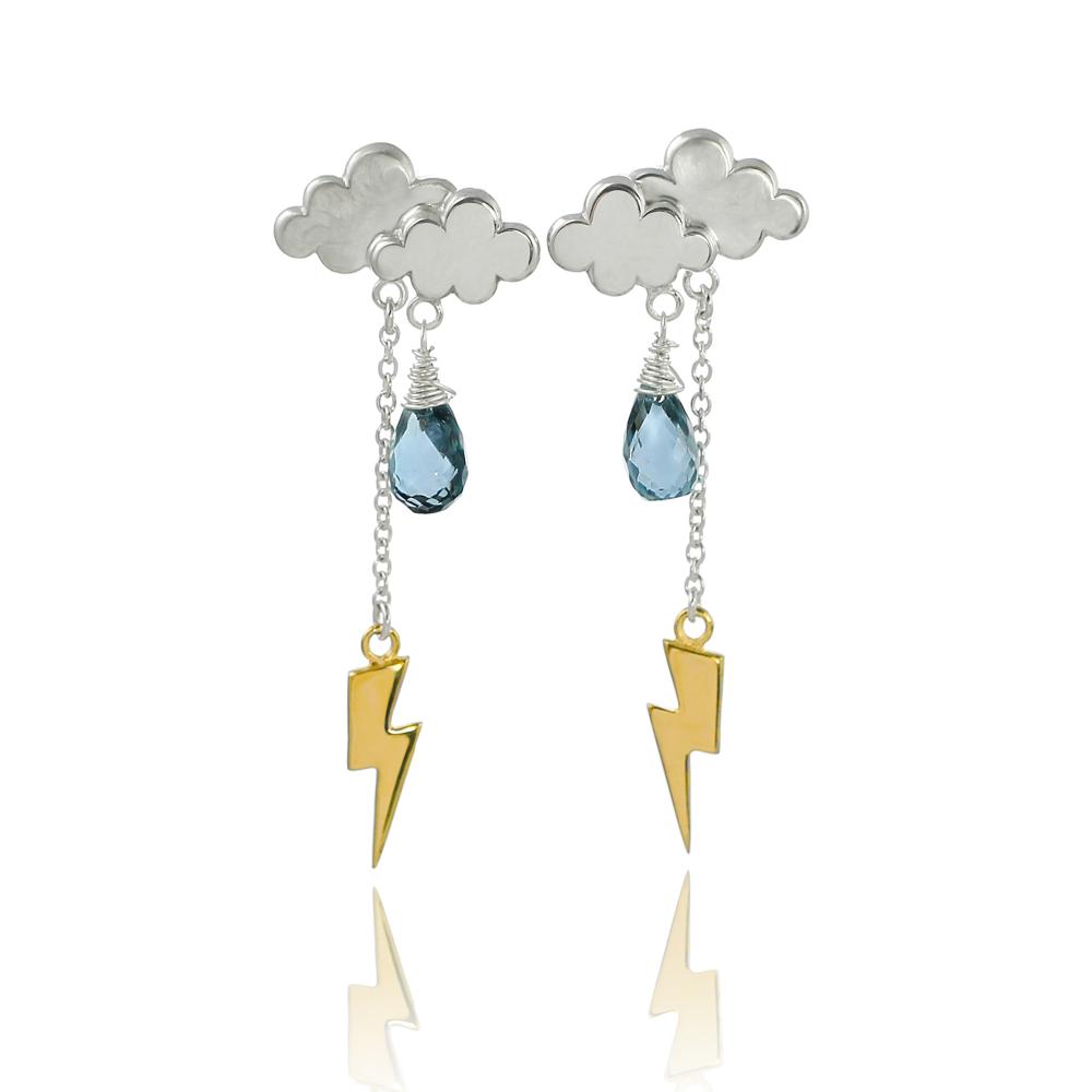 Sterling silver gold vermeil thunderstorm lighting bolt drop ear