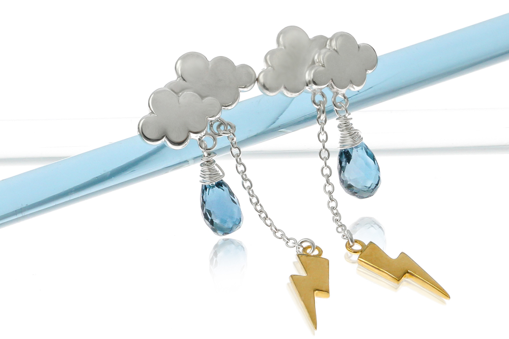 Sterling silver and gold thunderstorm raincloud earrings