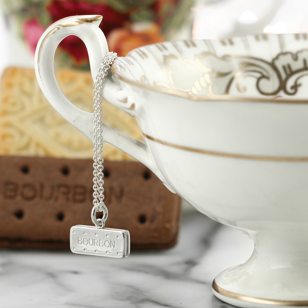 Sterling silver bourbon biscuit necklace lifestyle