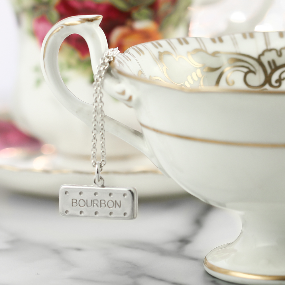 Solid sterling silver large bourbon biscuit necklace lifestyle