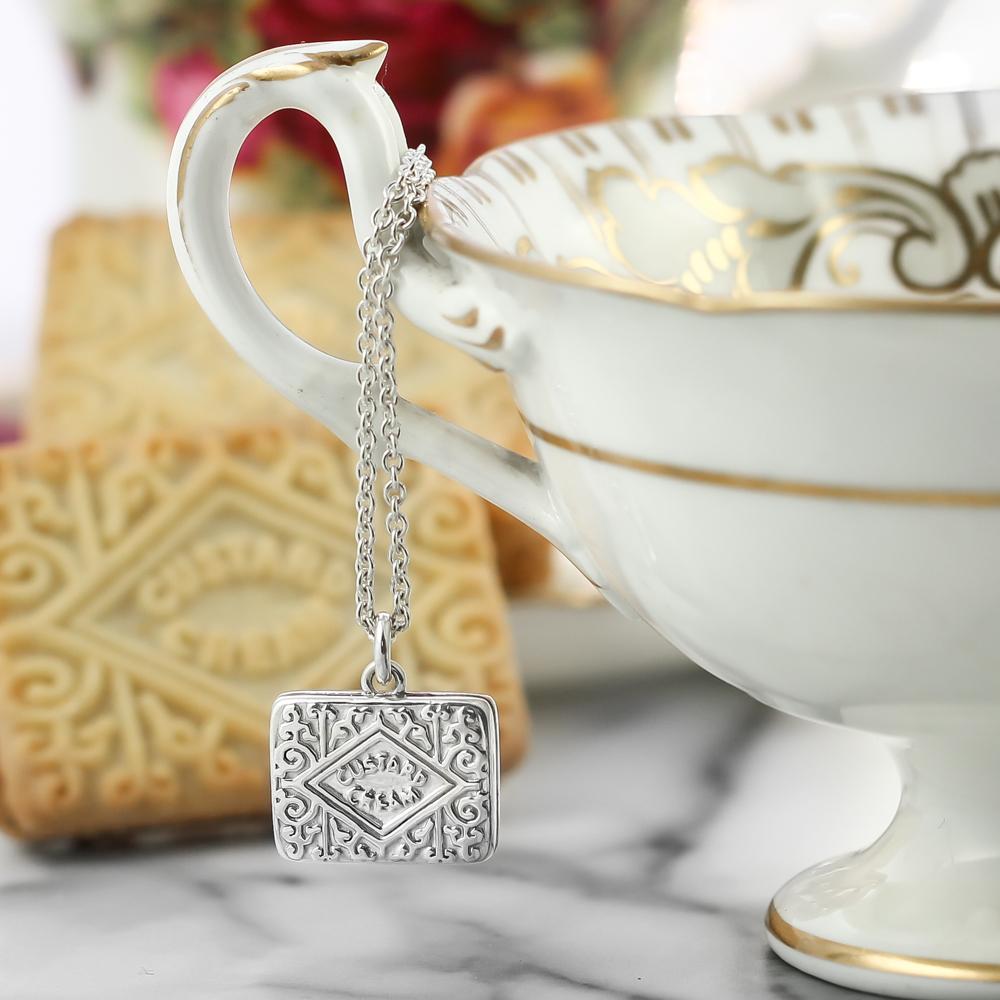 Sterling silver large original custard cream charm necklace