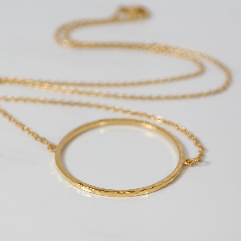Gold vermeil hammered necklace handmade