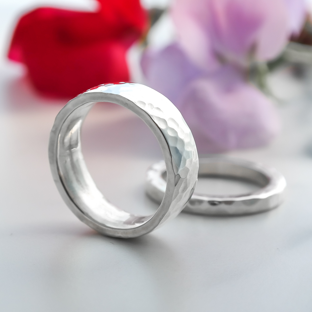 Sterling eco-silver hammered ethical wedding bands