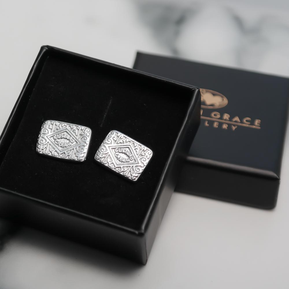 Sterling silver eco-friendly custard cream stud earrings