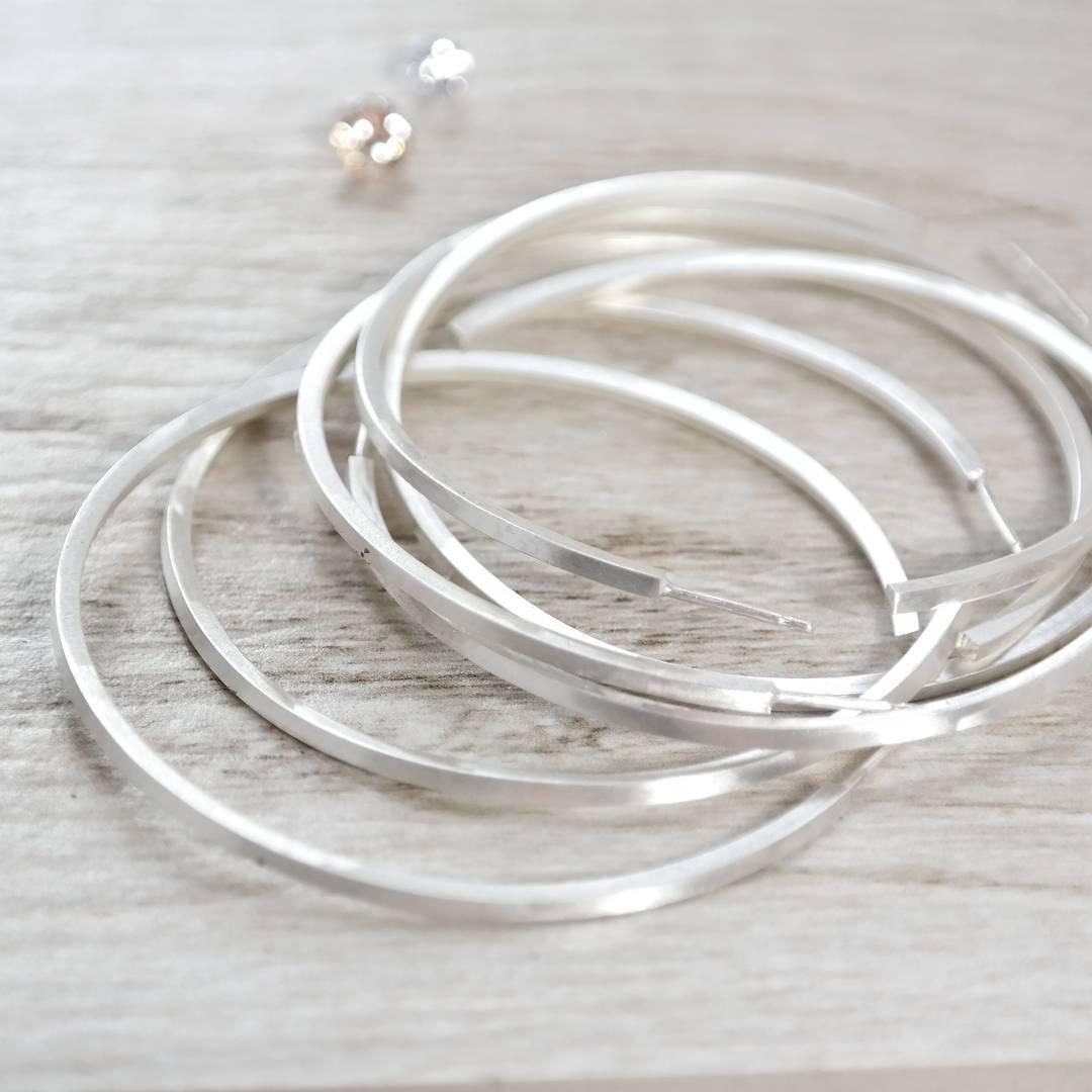 Silver hoop earrings work in progress